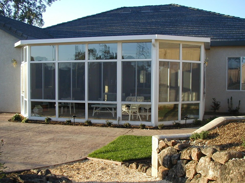 Gabled sun room sierra sun screens patio covers for Home plans with sunrooms